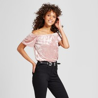 Women's Velvet Off the Shoulder Top - Grayson Threads (Juniors') Pink