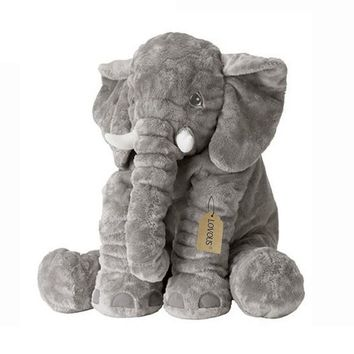 LOVOUS Big Stuffed Elephant Plush Doll Toy, Grey