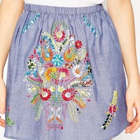 ASOS TALL Mini Skirt In Chambray With Bright Embroidery