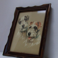 Vintage Terrier Dogs Art Print Picture by M Gear
