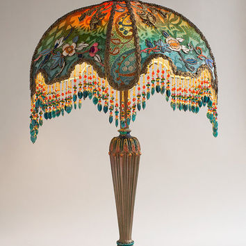 Beautiful Ombre Velvet Half Moon Victorian Table Lamp and Shade with Antique Textiles and Chinese Appliques