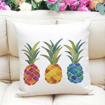 Stylish Colorful Pineapples Pattern Square Shape Flax Pillowcase (Without Pillow Inner)