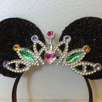 MINNIE MOUSE EARS Headband Black Sparkle with princess crown jeweled bling Unique