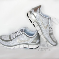 Women's Nike Free 5.0 v4 White/Metallic Silver/Pure Platinum with Swarovski crystal details