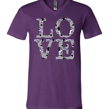 Official NCAA Kansas State University Wildcats KSU K-State LOVE Unisex V-Neck T-Shirt - ksuw2003