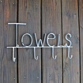 "White ""Towel"" Wall Hook/ Bath Towel/ Robe Wall Hook/ Shabby chic/ Bathroom Fixture/ Bathroom fixture"