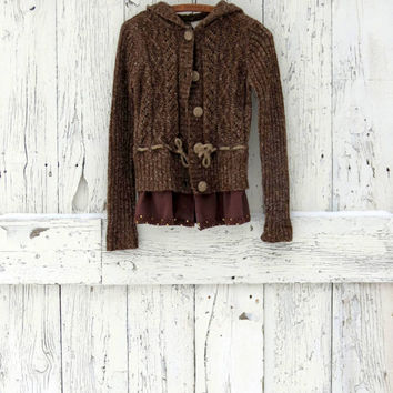 Upcycled Hoodie Cardigan- brown indie fashion- lagenlook layering sweater- pixie tie sweater- ecofashion