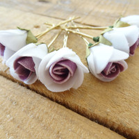 White Damson Purple Rose Wedding Hair Pins,  Bridal Hair Pins, Hair Accessories, Bridesmaid Hair, Woodland - Set of 6