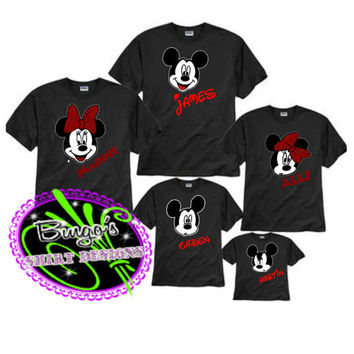 Free Shipping Custom Disney Minnie & Mickey Family Faces, Disney Family Shirts Personalized, Mickey Ears, Family Shirts