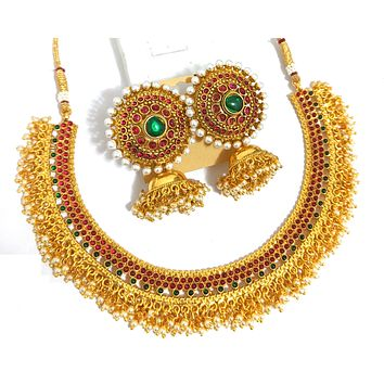 Traditional tiny kemp stone pasted pearl cluster hanging choker necklace and large stud with medium jhumka earring set