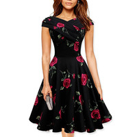 Womens Elegant 50s 60s Vintage Rose Retro Rockabilly Floral Sexy Party Cocktail Skater Wiggle Flare Swing Dress