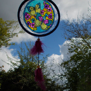 6 inches Butterfly Suncatcher Mobile - Whimsical Colorful Boho Hippie Sun Catcher - Wall Hanging Home Decor - Glass Painted Window Decor