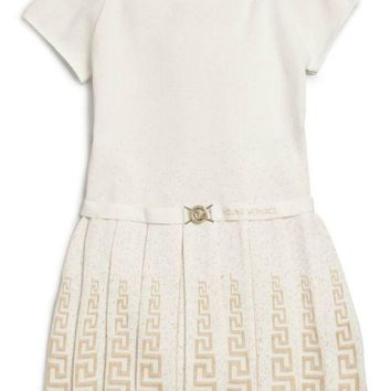 NOV9O2 Versace Girls Ivory Knit Dress