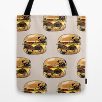 Pugs Burger Tote Bag by Huebucket