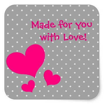 """Made with Love"""" Hot pink hearts on gray polkadots Square Sticker"""
