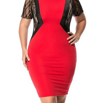 Casual See-Through Color Block Patchwork Plus Size Bodycon Dress