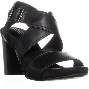 GB35 Jenett Block Heel Ankle Strap Sandals, Black, 8.5 US