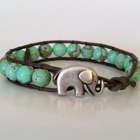 Elephant Leather Wrap Bracelet, Gr.. on Luulla