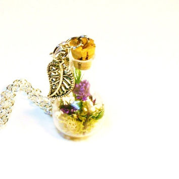 Terrarium Necklace Mini Glass Bottle Fairy Garden Purple Flowers and Moss