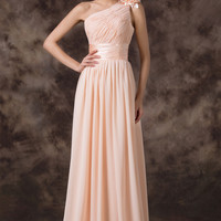 Apricot Flower One Shoulder Empire Waist Lace Up Back Evening Dress