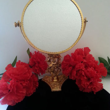 Vintage Ornate Mirror, Stylebuilt, Flower Bird Design Mirror, Made In USA, Mid Century Modern, 1960's Vanity Display, Hollywood Regency