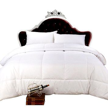 Down Alternative Comforter (White, Queen) - All Season Comforter - Plush Fiberfill Duvet Insert - Box Stitched