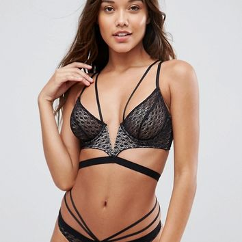 ASOS Gianna Diamond Lace Longline Underwire Bra Set at asos.com