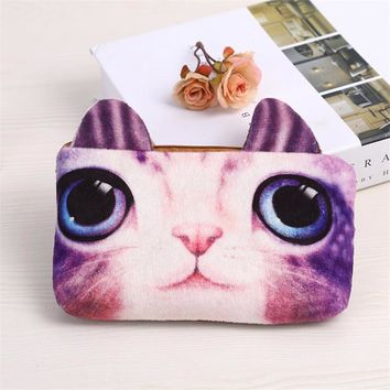 PACGOTH Japanese and Korean Style Plush multi color cat shape animal prints kawaii school children's square zipper coin purse