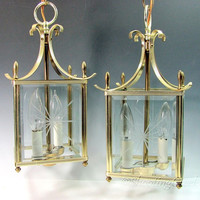 Vintage BRASS GLASS CHANDELIER Pair Ceiling Lamp Carriage Pagoda Lantern Antique