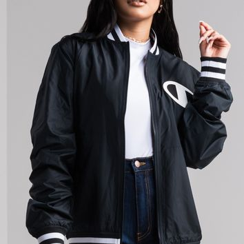 Champion Women's Big C Satin Baseball Jacket in Black
