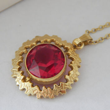 Signed Modernist Ruby Necklace 14k Rolled Gold 1950s