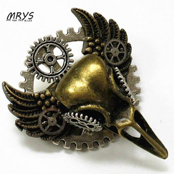 steampunk jewelry gothic bird skull head wings gears collar brooch pins badge metal men women fashion vintage jewelry cool DIY