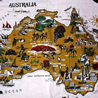 Vintage Australia Map Table Cloth Polyester Cotton Rectangle