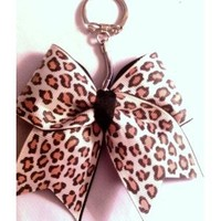 BKC - CHEETAH (light shade) CHEER BOW KEYCHAIN *** Perfect for CHEER & DANCE TEAM GIFTS, PARTY FAVORS or Fundraising **** Contact Me for Bulk Orders