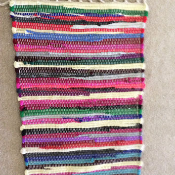 Handwoven Small Rag Rug Chindi Style Boho Chic Hippie Rugs Colorful Cotton Bath