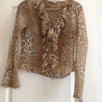 Sheer Tie Front Leopard Print Blouse With Ruffles (Small/Indie Brands)
