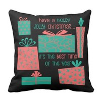 Have a holly jolly Christmas, teal/coral Pillow