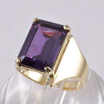 Modernist Style Jewelry - 10K Gold Ring with 6 Carat Emerald Cut Amethyst