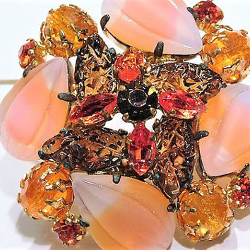 Vintage  Juliana DeLizza Elster D & E Rhinestone Brooch Fruit Salad Molded Corn Kernel Navettes Givre Frosted Art Glass Mid Century 1960s