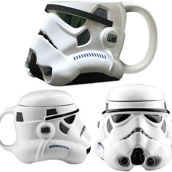 Star Wars Mug 650ml Personality Creative Coffee Mugs Star Wars White Warrior Ceramic Coffee Mug with Lid Tea Mug
