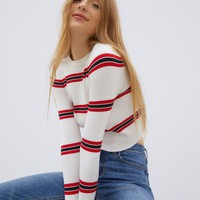 Kendall and Kylie Long Sleeve Retro Sweater Top at PacSun.com - stripe | PacSun