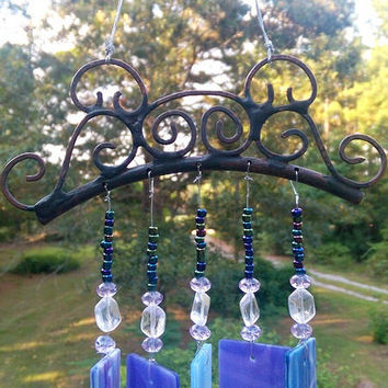 Illume Studio Handmade Stained Glass Wind Chime with Handmade Copper Top and Glass Beads