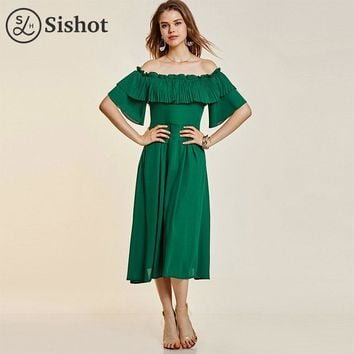casual dresses green plain mid calf half sleeve a line falbala backless pleats slash neck casual dress