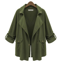 Army Green Buttoned Slit Lapel Coat