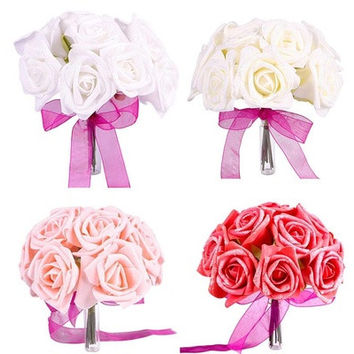 Hot One Bouquet Beautiful Wedding Decor Foam Rose Shape Bridal Bridesmaid Flower [7981212423]