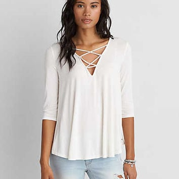 AEO Soft & Sexy Lace-Up Top, Cream