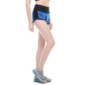 Summer Pocket Design Woman Yoga Shorts Breathable Workout Gym Sports Shorts Elastic Waist Quick-dry Female Running Shorts