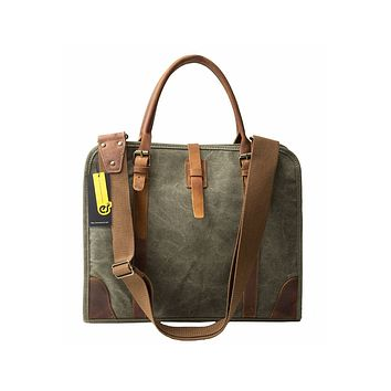 """High Canvas Real Leather Business Messenger Briefcase Laptop Bag Fit 15.6"""" Laptop"""