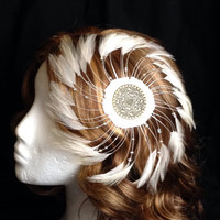 Ivory white spiral feather and bronze fascinator hair clip