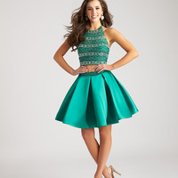Madison James 17-113 Beaded Crop Top Homecoming Cocktail Dress